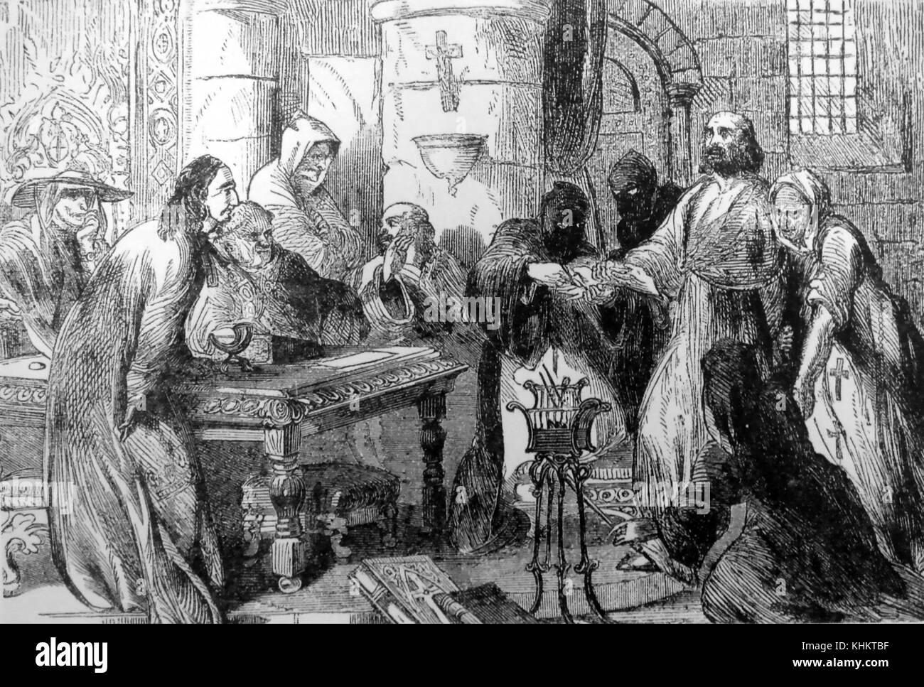 JACQUES de MOLAY (c 1243-1314) last Grand Master of the Knights Templar under torture in 1307. - Stock Image