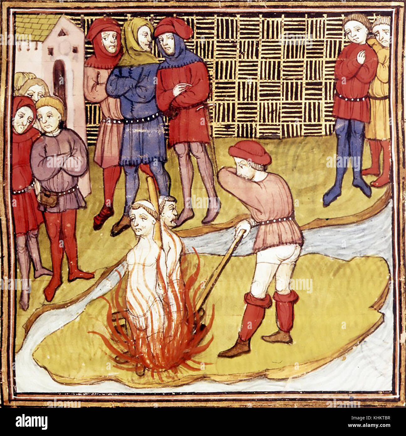 KNIGHTS TEMPLARS Jacques de Molay and Geoffroi de Charney being burnt at the stake on  the Ile de Cite in Paris - Stock Image