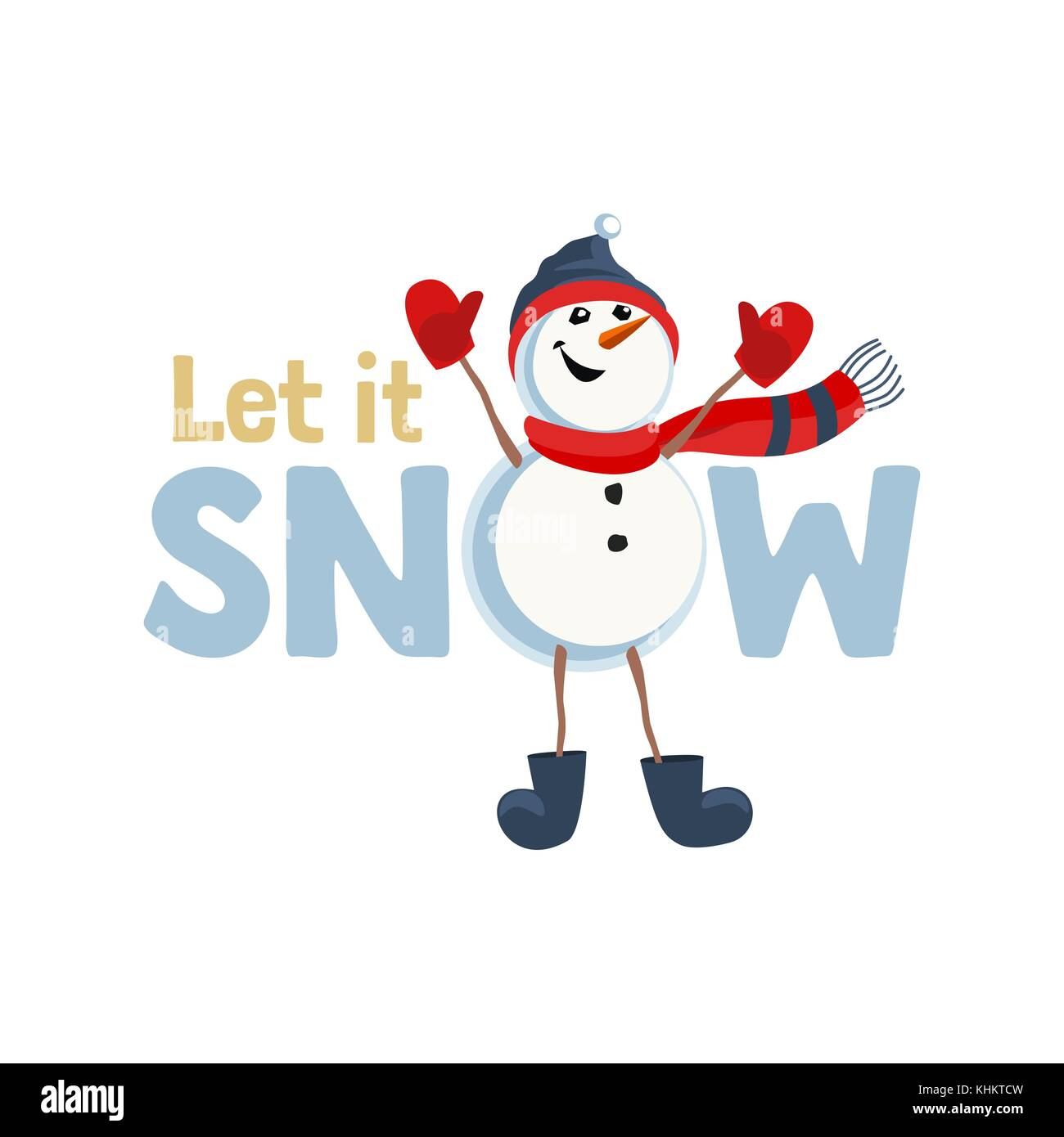 Holiday Wishes Let It Snow Fancy Letters Cartoon Playful Fun Stock