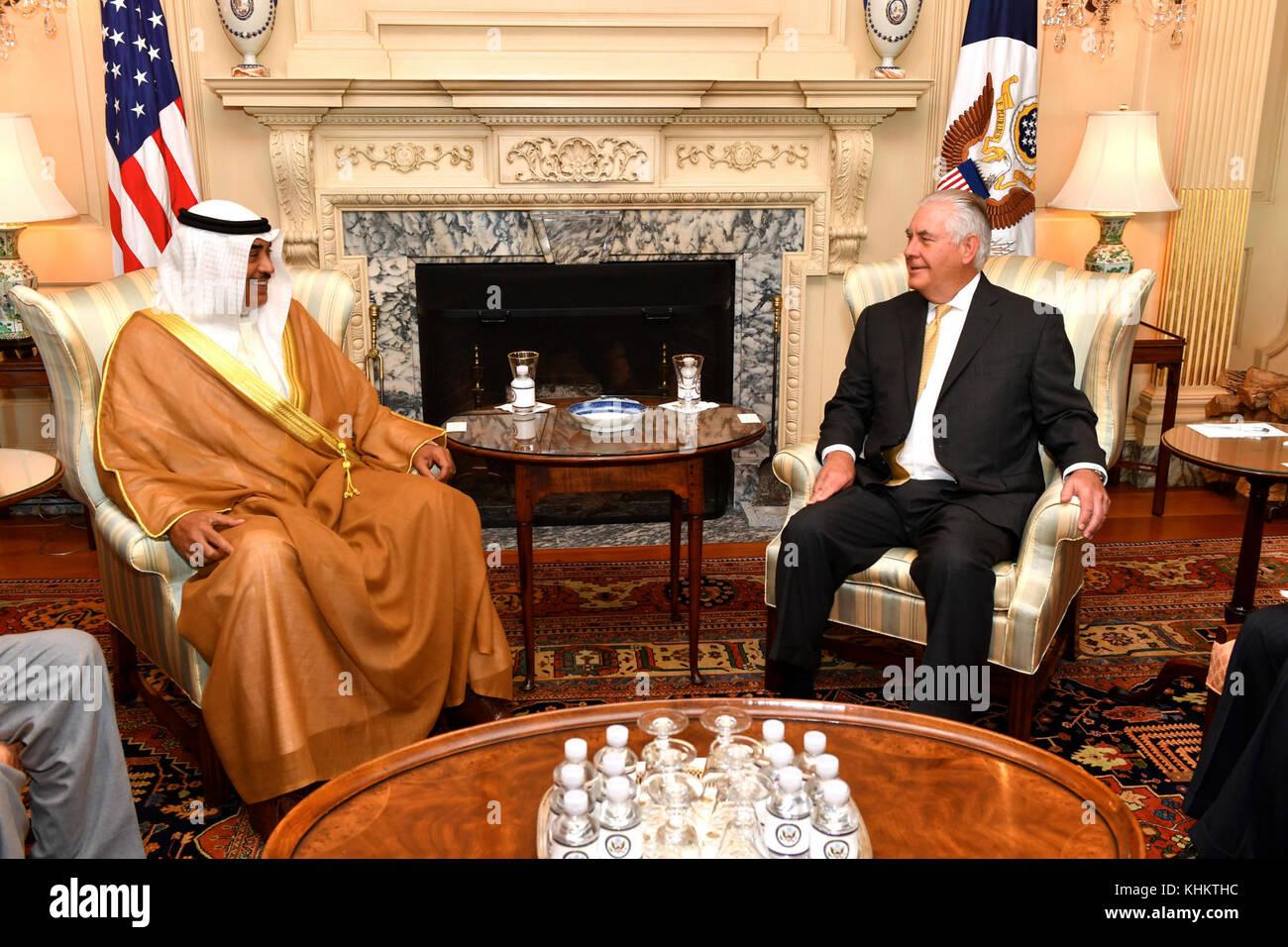 U.S. Secretary of State Rex Tillerson meets with Kuwaiti Foreign Minister Sheikh Sabah Al-Khaled Al-Hamad Al-Sabah - Stock Image