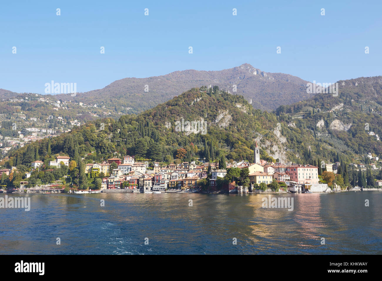 The waterfront of Varenna on the shore of Lake (Lago) Como, Lecco Lombardy, Italy - Stock Image