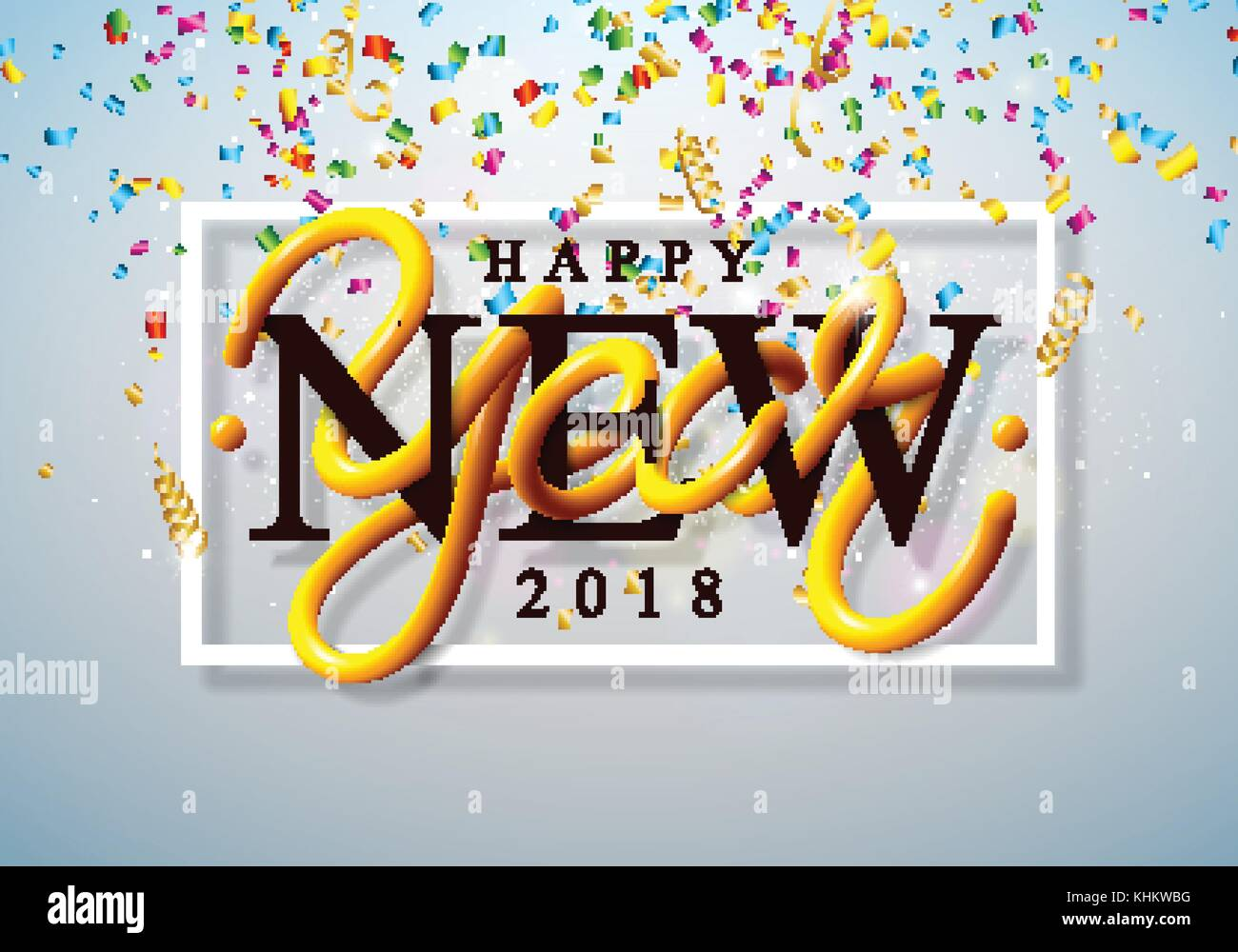 happy new year 2018 illustration with colorful confetti and 3d lettering on shiny light background vector holiday design for premium greeting card party
