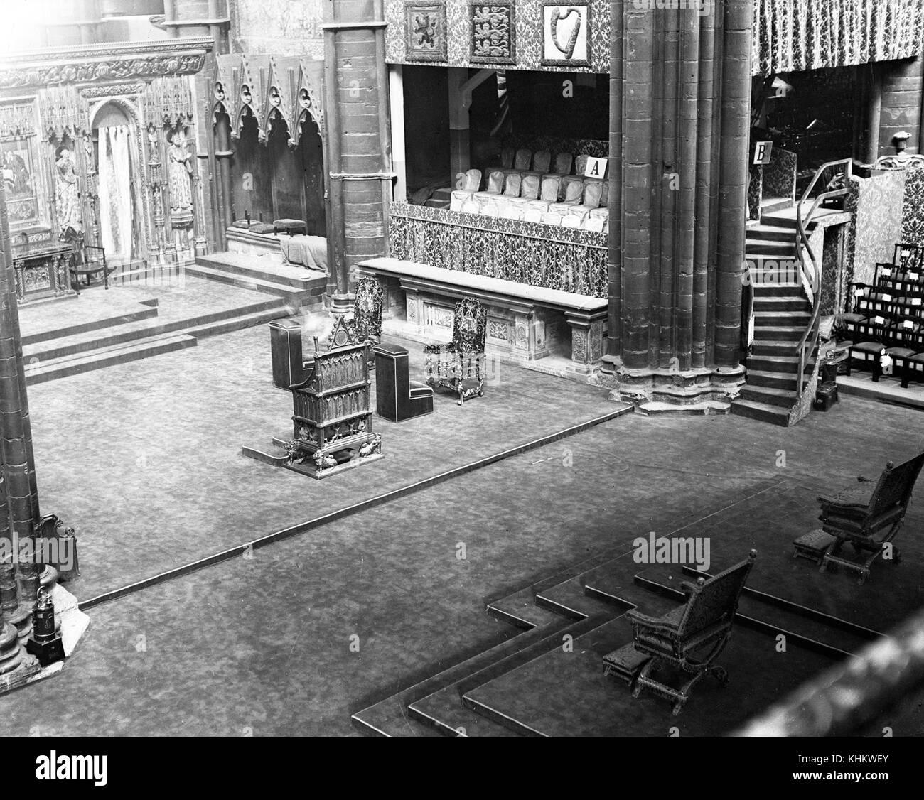 Coronation chairs at Westminster Abbey. - Stock Image & Coronation Westminster Abbey Black and White Stock Photos u0026 Images ...