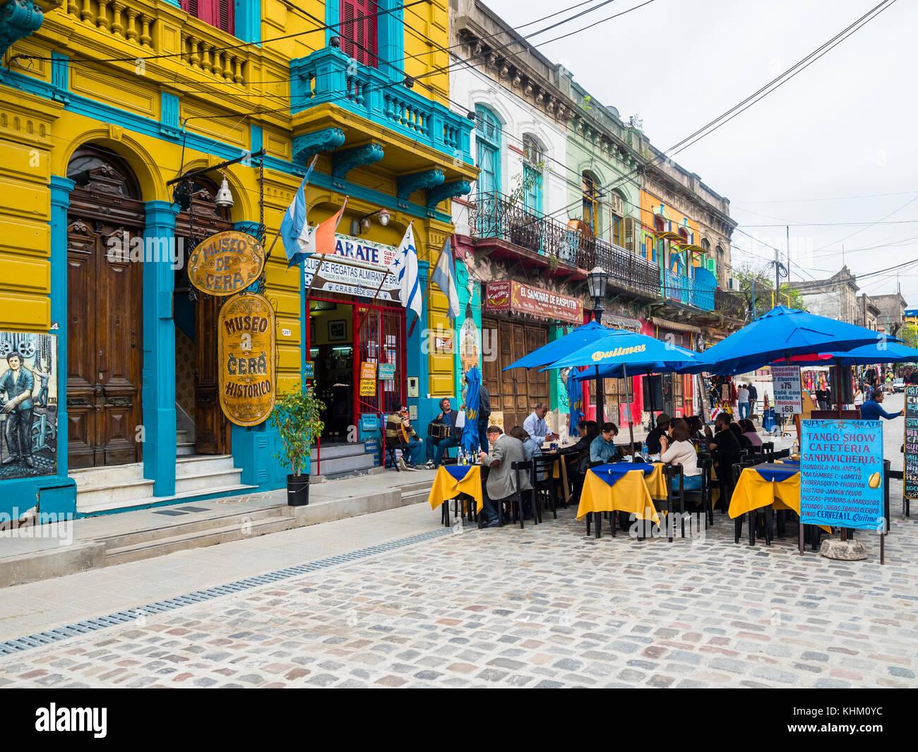 Restaurant in the pedestrian precinct El Caminito, La Boca district, Buenos Aires, Argentina - Stock Image