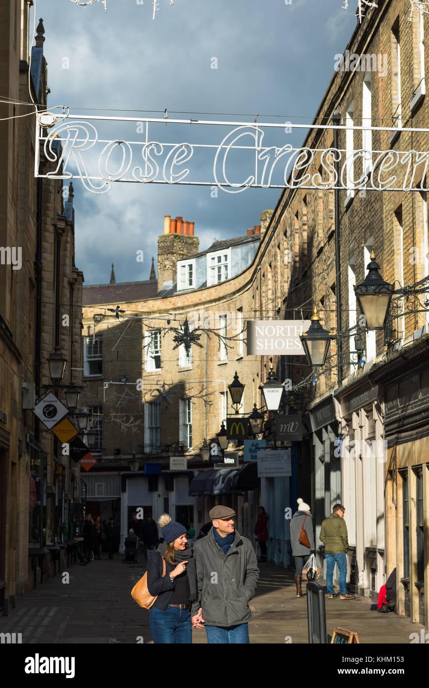 The Rose Crescent leading to Market square in Cambridge city centre, Cambridgeshire, England, UK. - Stock Image