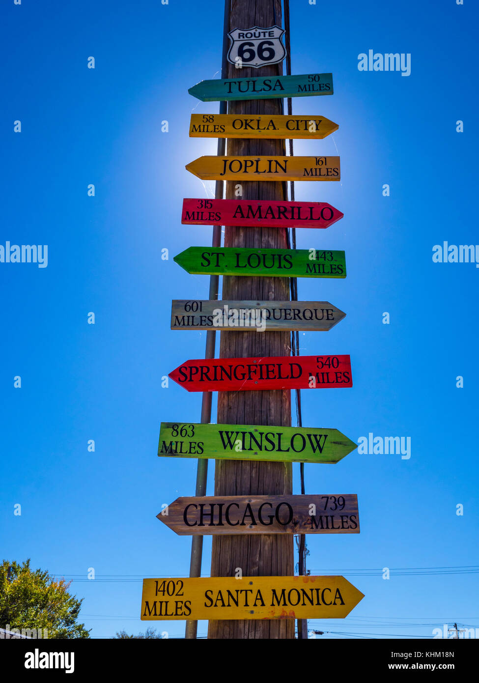 Direction signs to famous cities at Route 66 - STROUD / OKLAHOMA - OCTOBER 16, 2017 - Stock Image