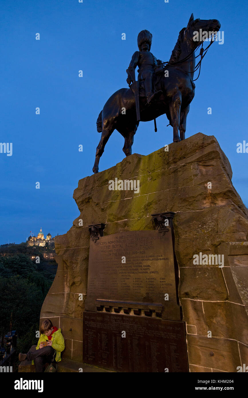 Bank of Scotland and equestrian sculpture The Royal Scots Greys, Edinburgh, Scotland, Great Britain - Stock Image