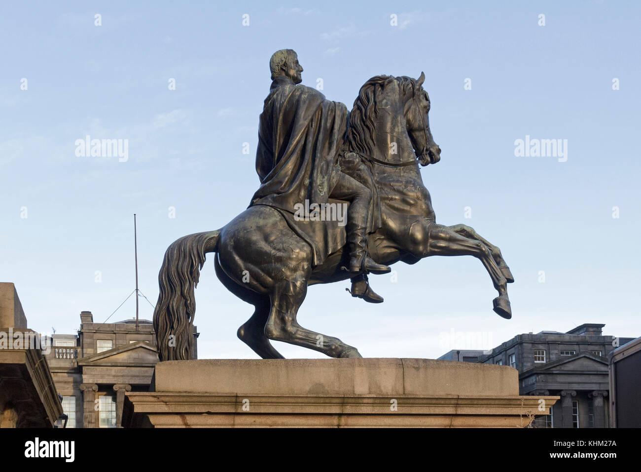 statue of the Duke of Wellington, Edinburgh, Scotland, Great Britain - Stock Image