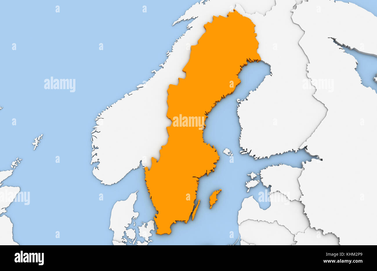 Sweden country map stock photos sweden country map stock images 3d render of abstract map of sweden highlighted in orange color stock image gumiabroncs Gallery