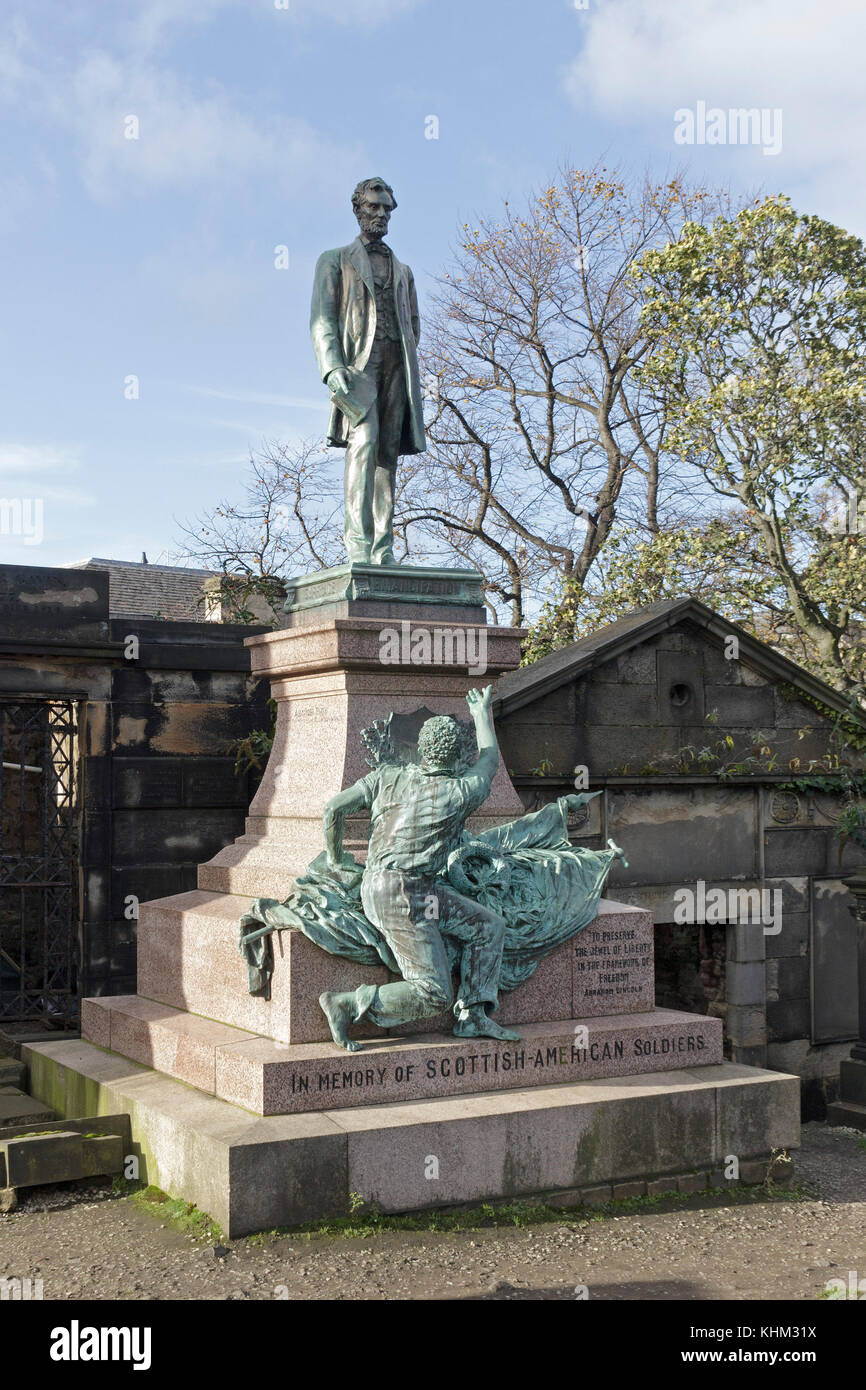 Scottish-American soldiers memorial with statue of Abraham Lincoln, Old Calton Cemetery, Edinburgh, Scotland, Great - Stock Image