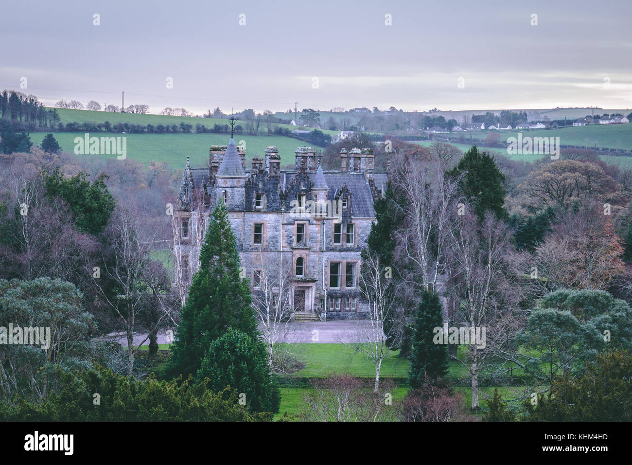 Blarney House, a Scottish Baronial mansion designed by John Lanyon at Blarney Castle. - Stock Image
