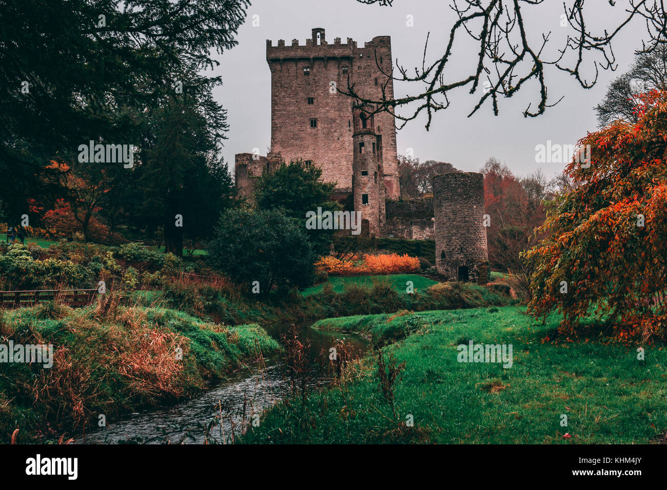Blarney, Ireland - Blarney Castle, a medieval stronghold in Blarney, near Cork, Ireland, and the River Martin - Stock Image
