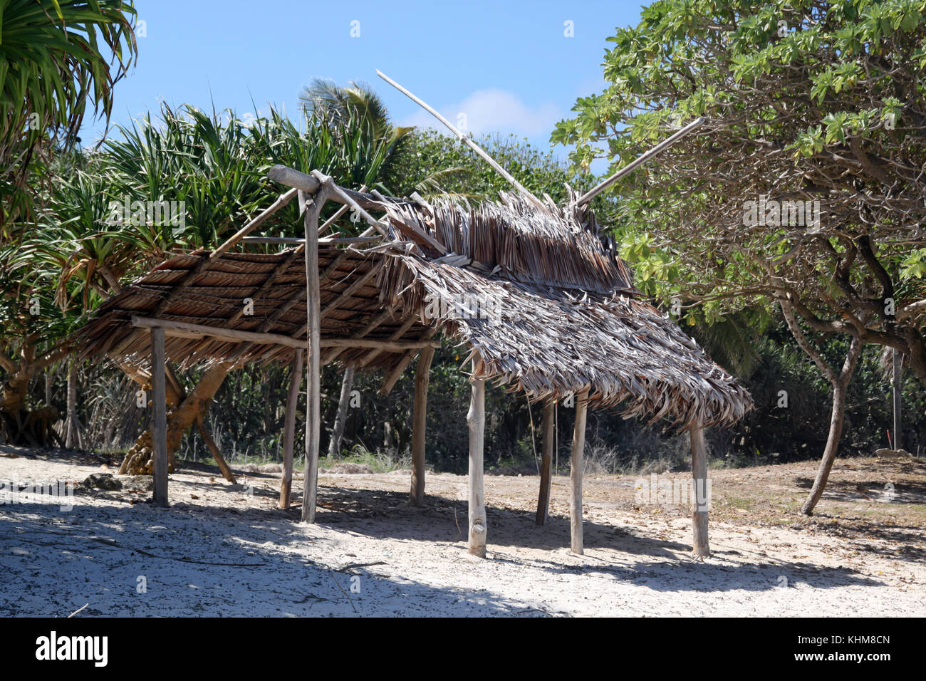 Hut on the beach in Efate, Vanuatu - Stock Image
