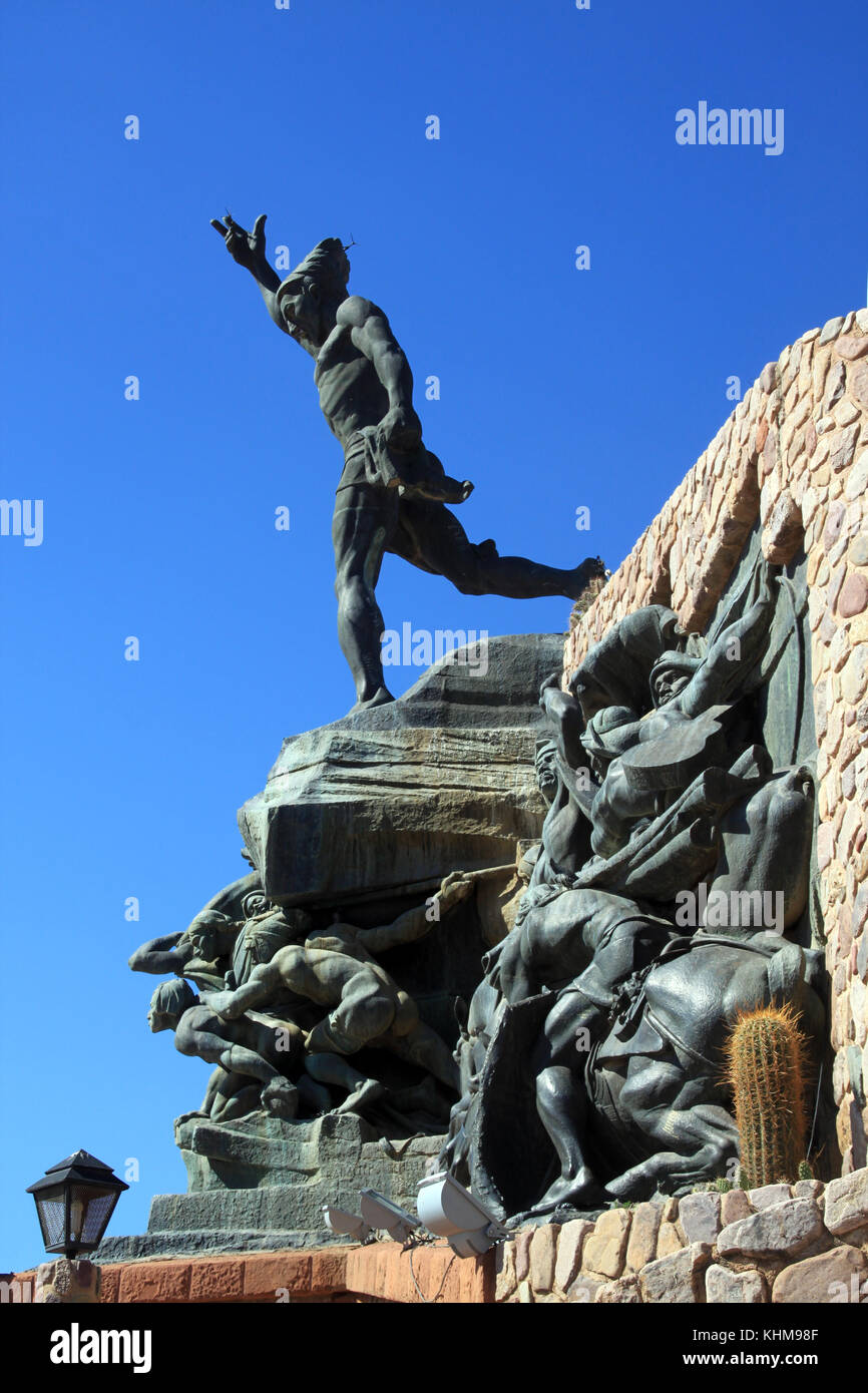 Monument of libertador in Humahuaca in north Argentina - Stock Image