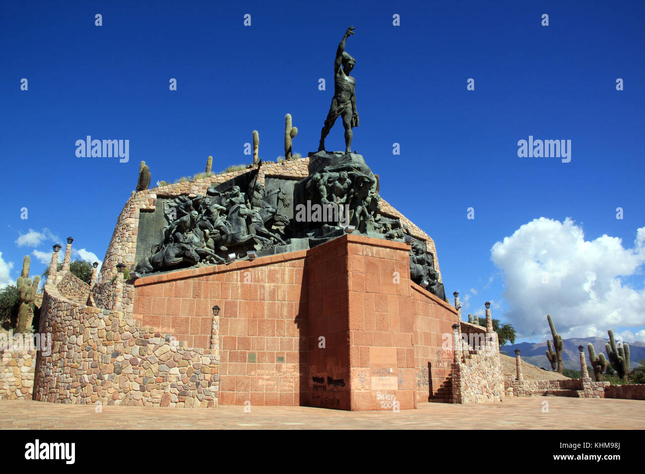 Monument of libertador on the hill in Humahuaca, north Argentina - Stock Image