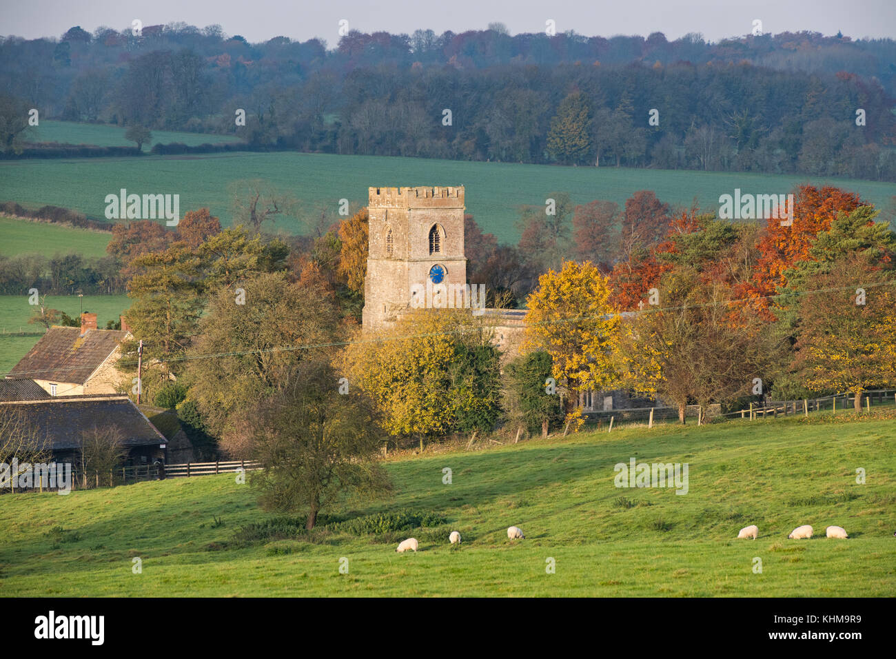 St Marys Church Upper Heyford in autumn. Upper Heyford, Oxfordshire, England - Stock Image
