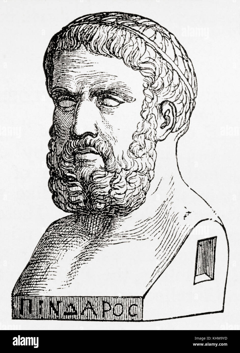 Pindar, c. 522 – c. 443 BC.  Ancient Greek lyric poet.  From Ward and Lock's Illustrated History of the World, - Stock Image