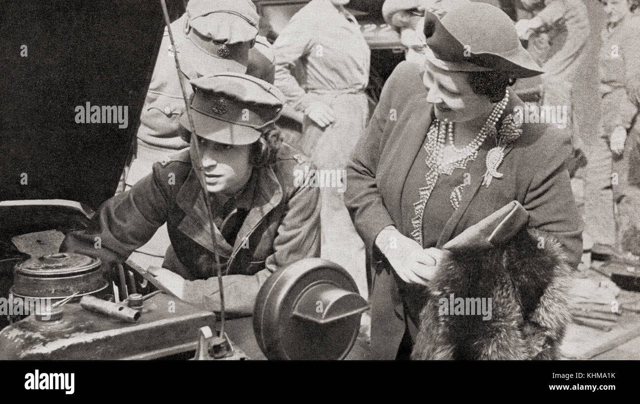 Princess Elizabeth in the A.T.S., seen here with her mother Queen Elizabeth in 1945.  Princess Elizabeth of York, - Stock Image