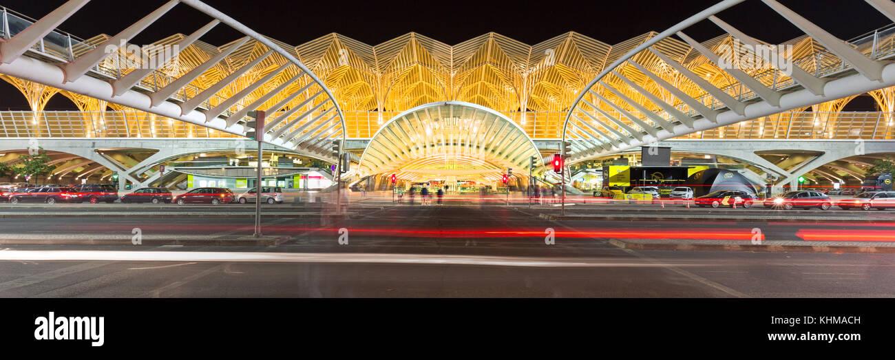 Rail station Oriente at night, Gare do Oriente, Lisbon, Portugal, Europe - Stock Image