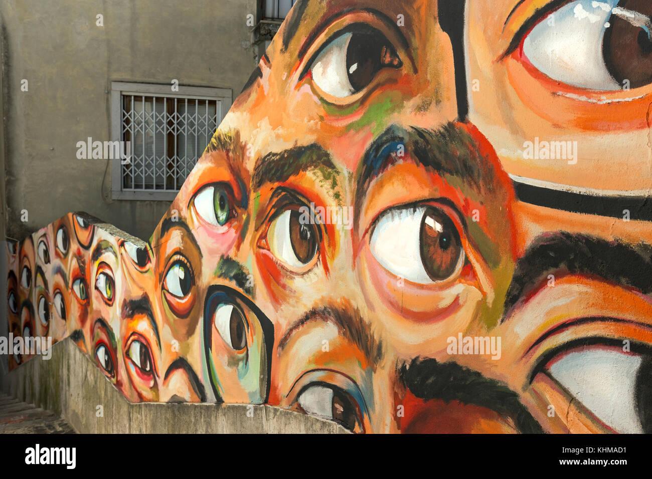 Wall Painting Street Art Graffiti Eyes Beco Do Maldonado Alfama