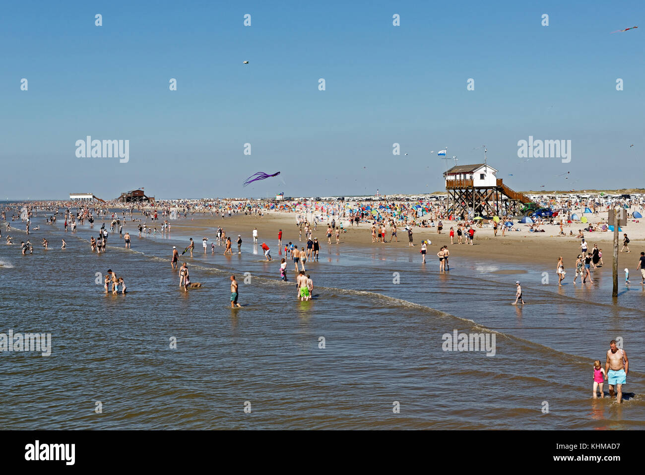 Beach, St Peter-Ording, North Frisia, Schleswig-Holstein, Germany, - Stock Image