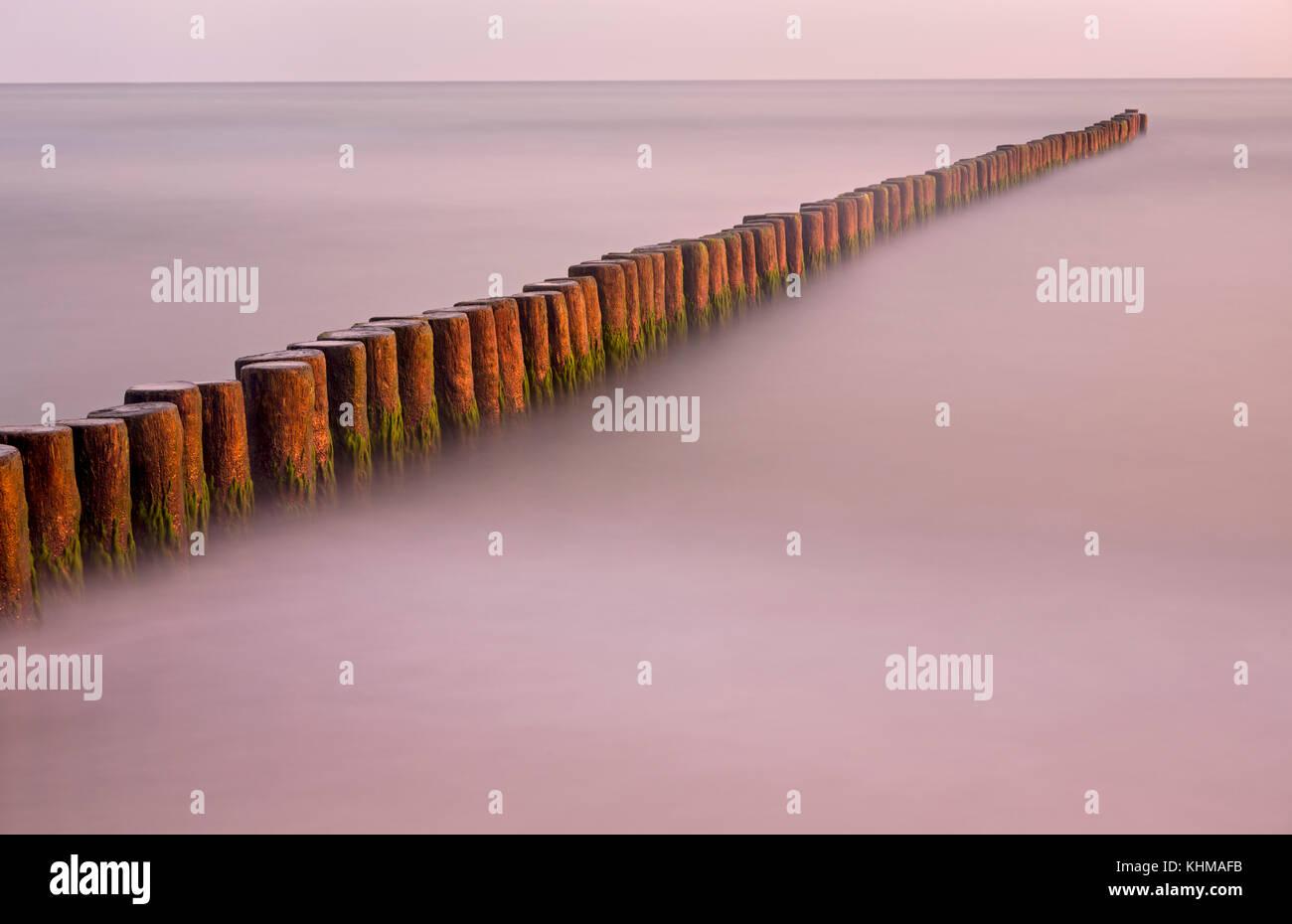 Groynes on the Baltic Coast, Mecklenburg-West Pomerania, Fishland-Darß-Zingst, Germany, Europe - Stock Image