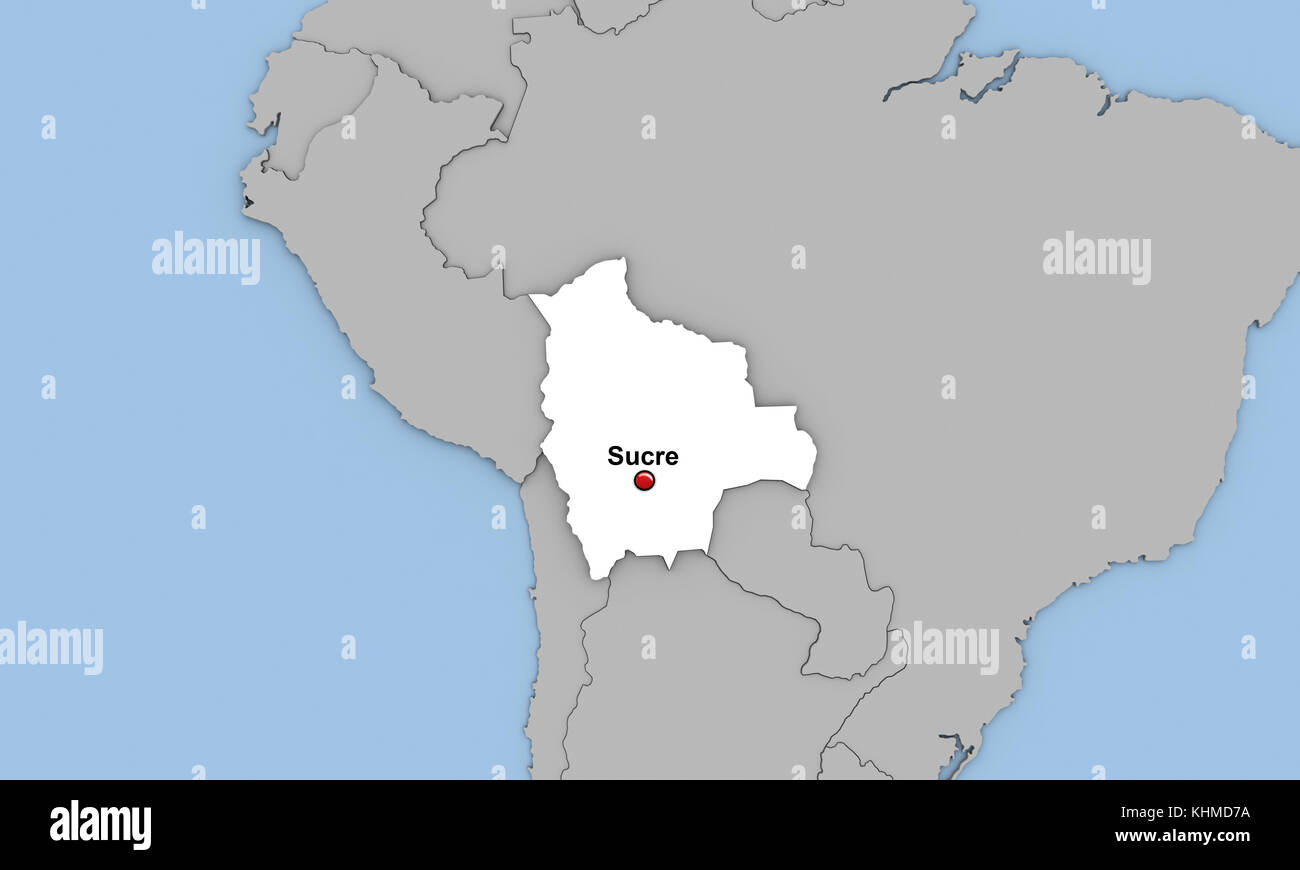 Abstract 3d Render Of Map Of Bolivia Highlighted In White Color And