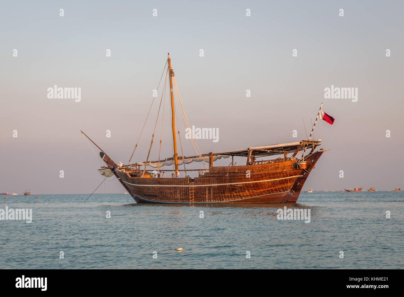Traditional wooden boats dhow in Katara beach, Doha,Qatar - Stock Image