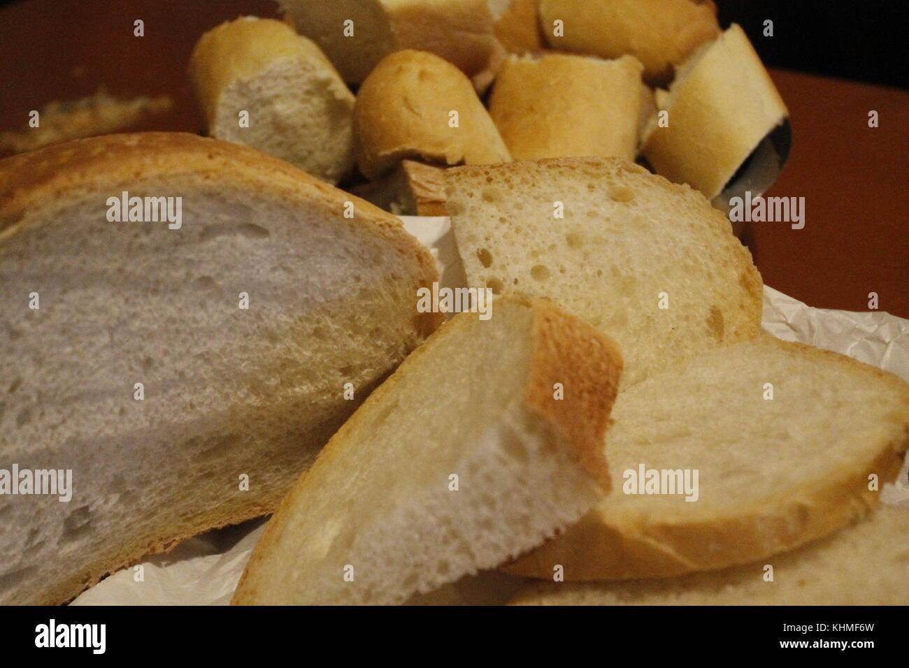 Close up of fresh and white bread Stock Photo