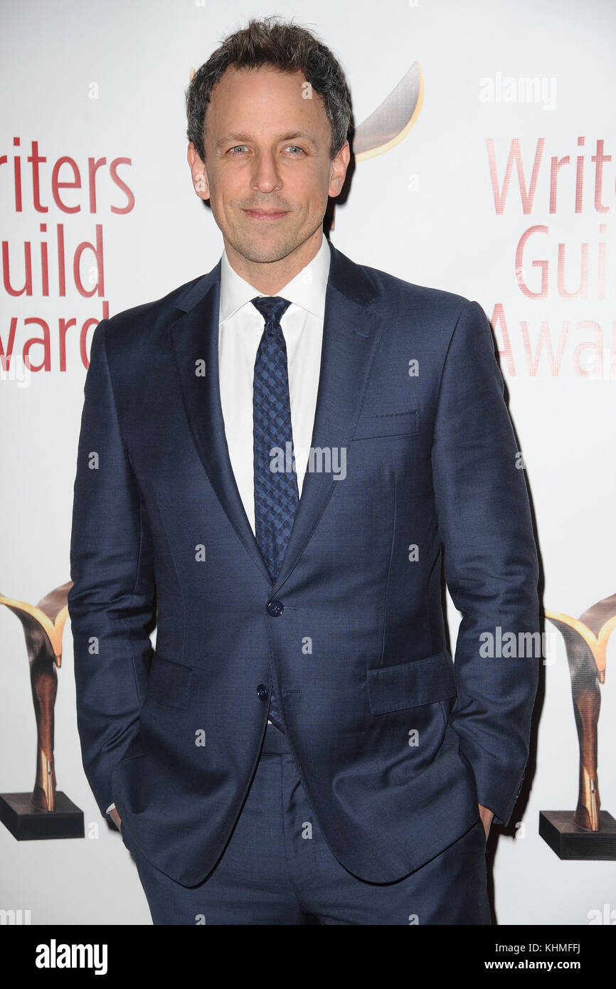 NEW YORK, NY - FEBRUARY 19: Seth Meyers  attends the 69th Annual Writers Guild Awards New York ceremony at Edison - Stock Image