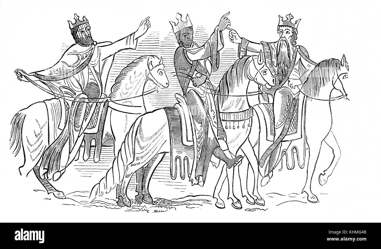 The crowns, costumes and riding equipment of Anglo-Saxon Royalty in 9th -10th Century England - Stock Image