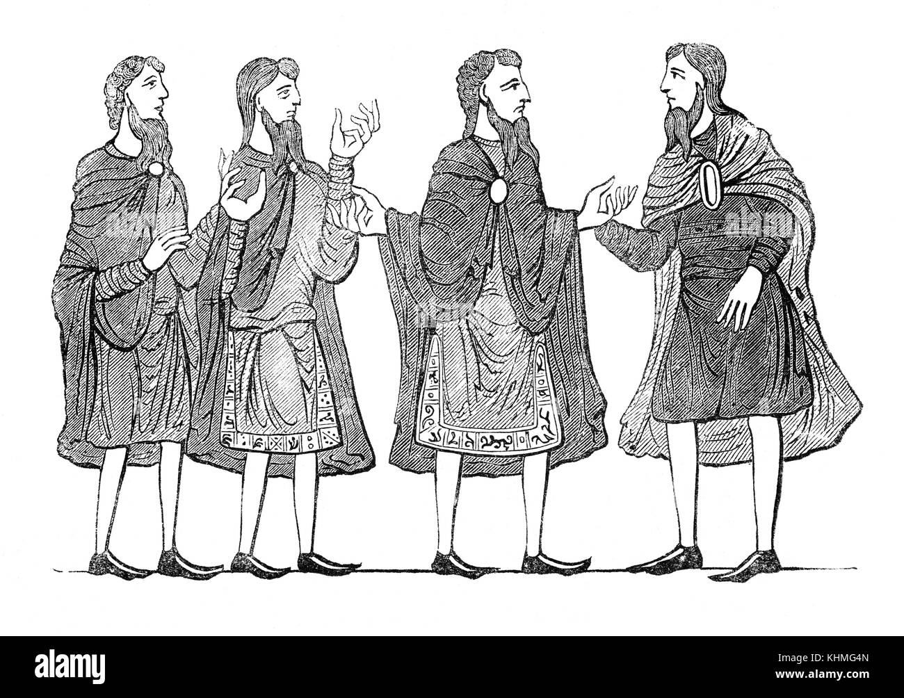 Cloaks, tunics and shoes that make up everyday Saxon  attire in 9th Century England. - Stock Image