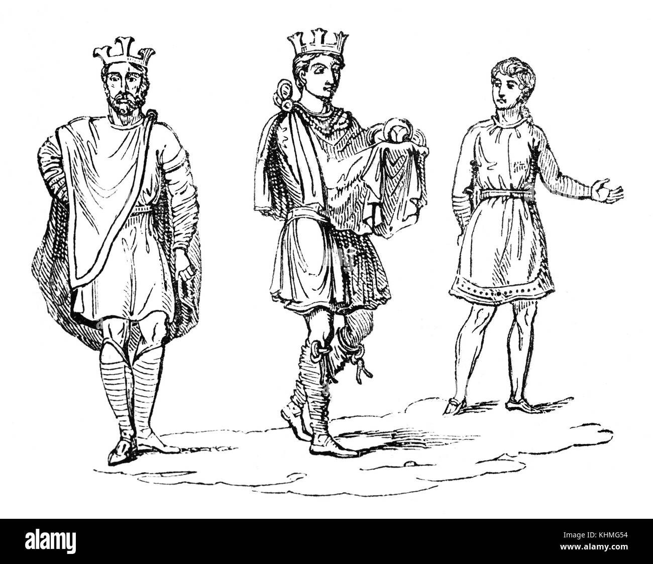 The Civic costume including a crown, Anglo Saxon Royalty in the 9th Century England. - Stock Image