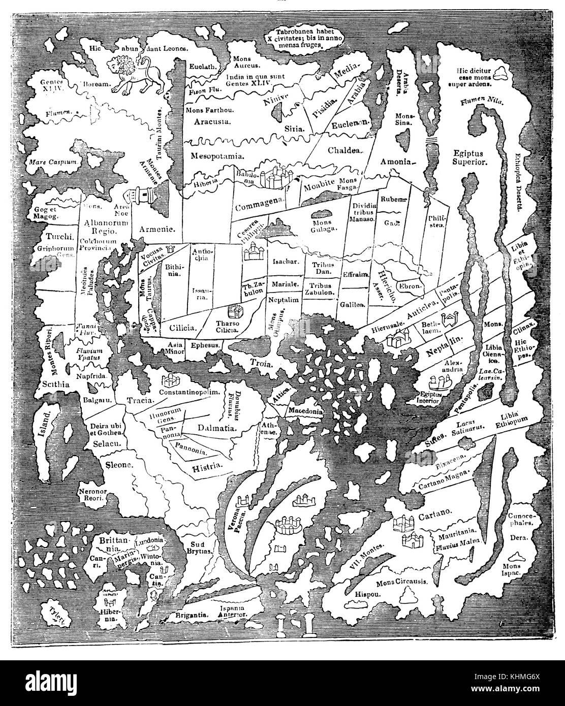 The early Map taken from a 10th century map in the Cottonian Library is imperfect but sufficiently useful to aid - Stock Image
