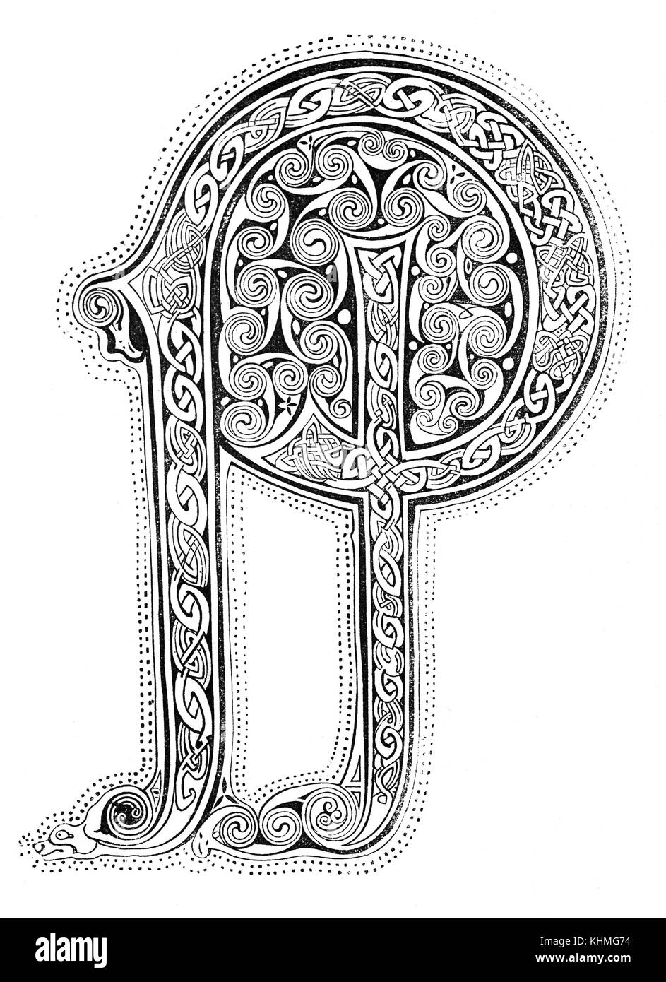 An illuminated letter 'P' of the type of calligraphy that was drawn and painted by Anglo-Saxon monks in - Stock Image