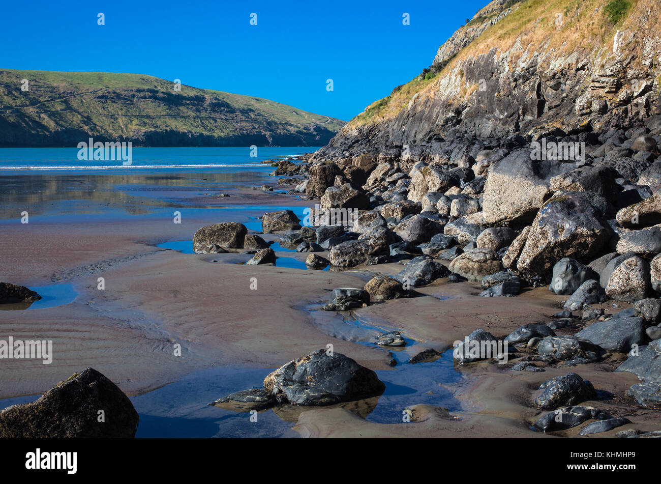Sights along the beach in a secluded Bay, South Island, New Zealand: Stock Photo
