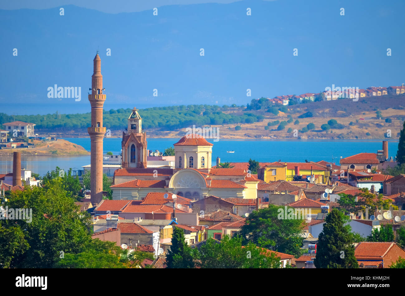View above the roofs of the town of Ayvalik and moschonisia islands, Turkey. - Stock Image