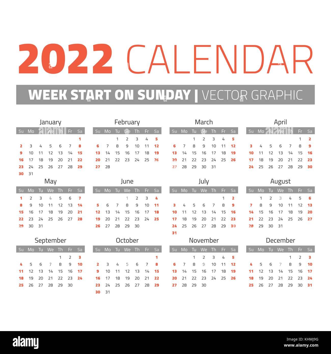 2022 Calendar Dates.Simple 2022 Year Calendar Stock Vector Image Art Alamy