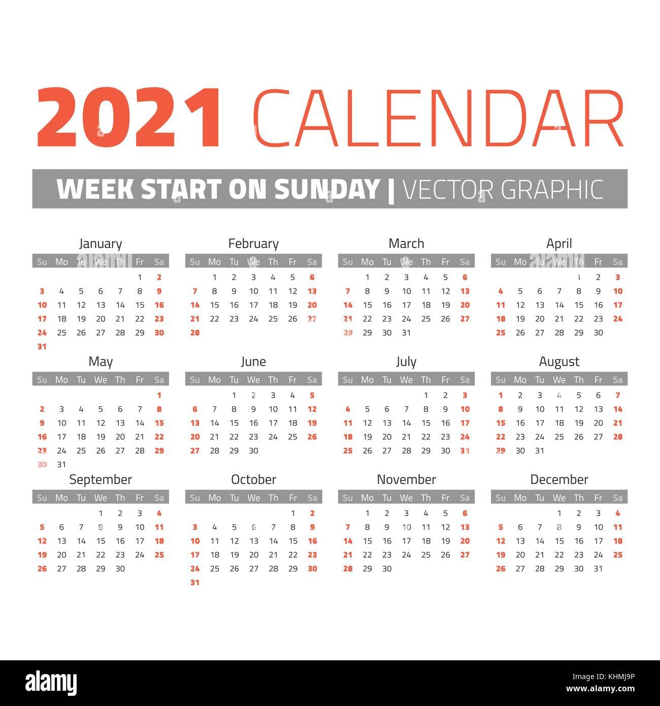 Simple 2021 year calendar Stock Vector Image & Art   Alamy