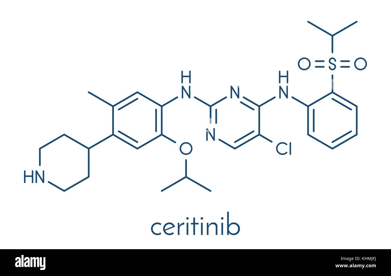 Ceritinib cancer drug molecule. ALK inhibitor used in treatment of metastatic non-small cell lung cancer. Skeletal - Stock Image