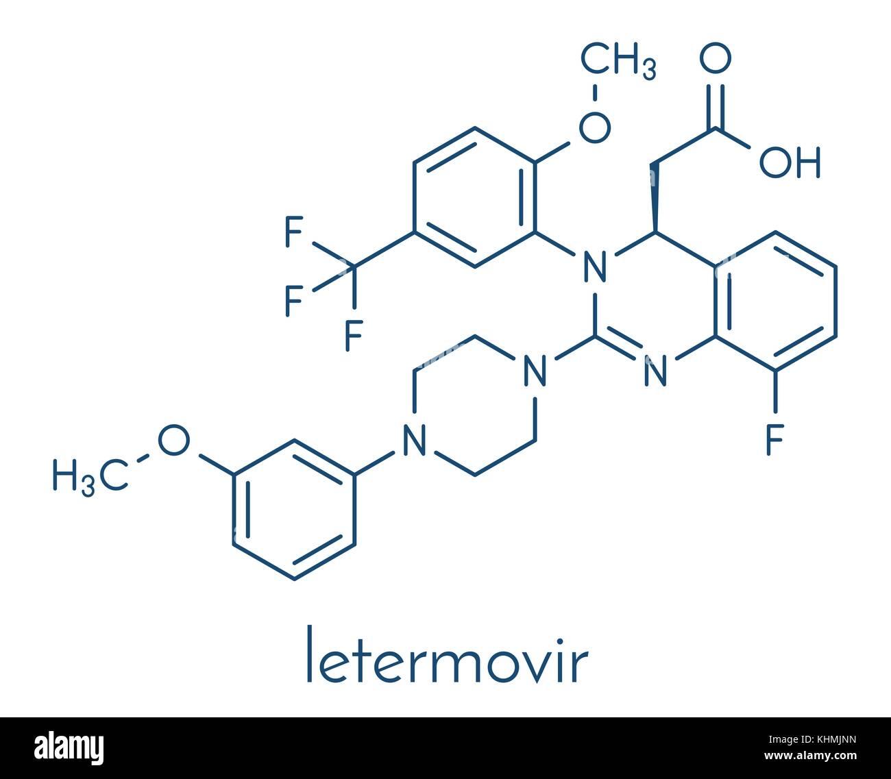 letermovir cytomegalovirus (CMV) drug molecule. Skeletal formula. - Stock Vector