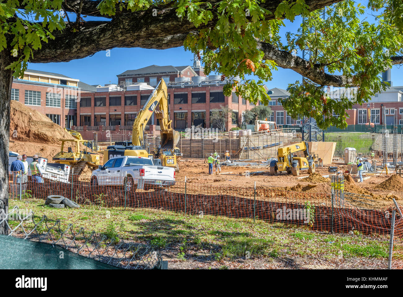 Construction work on the Auburn University campus expansion, Auburn Alabama, USA. - Stock Image