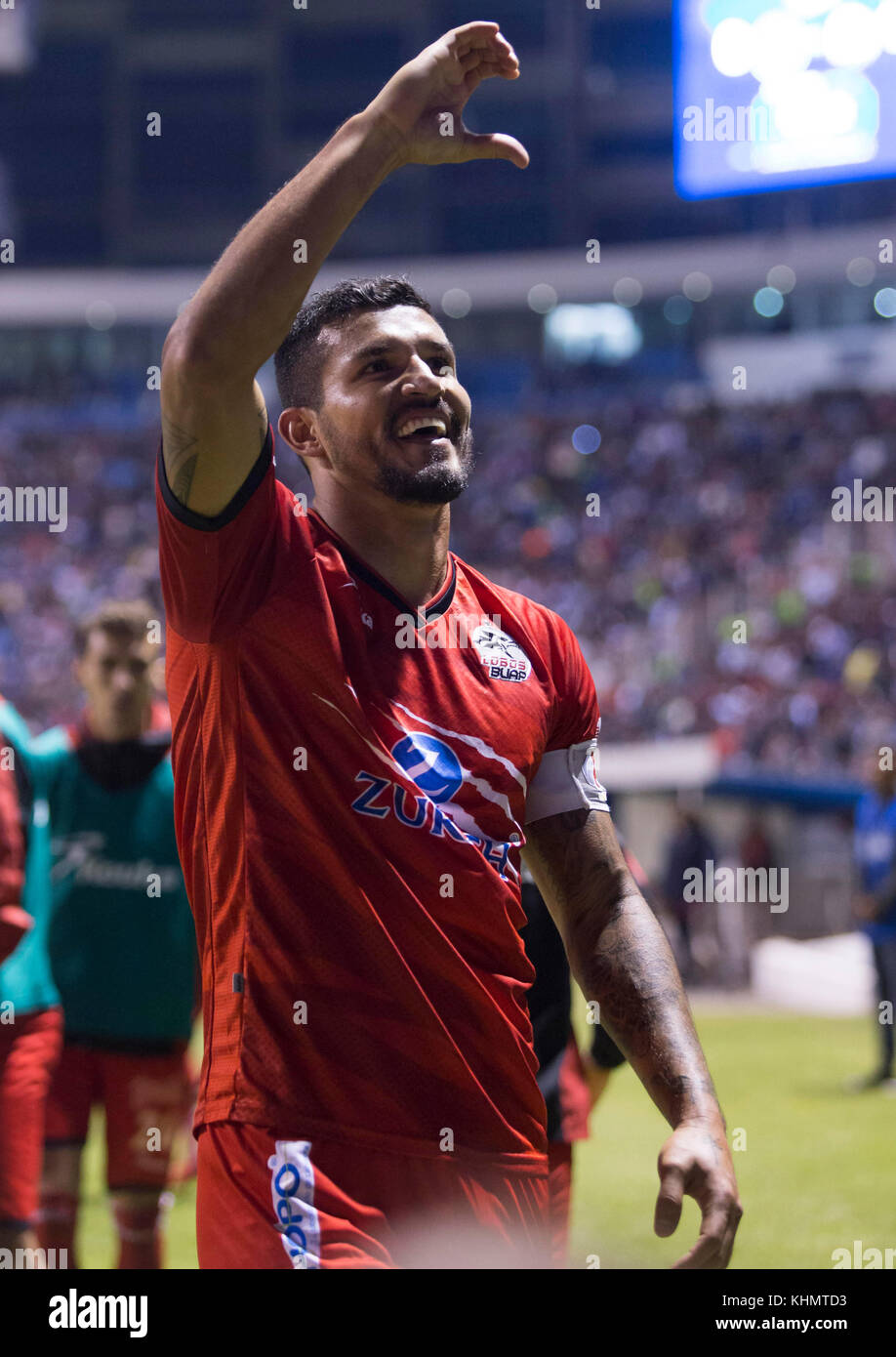 228108fc10c Lobos BUAP Javier Rodriguez celebrates after scoring a goal during the game  corresponding to day 17