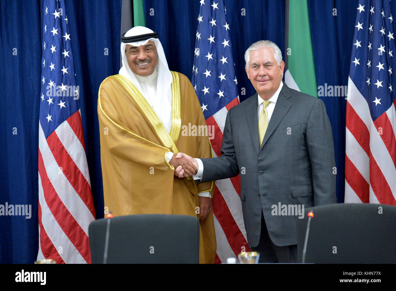 U.S. Secretary of State Rex Tillerson shakes hands with Kuwaiti Foreign Minister Sheikh Sabah Al-Khaled Al-Hamad - Stock Image