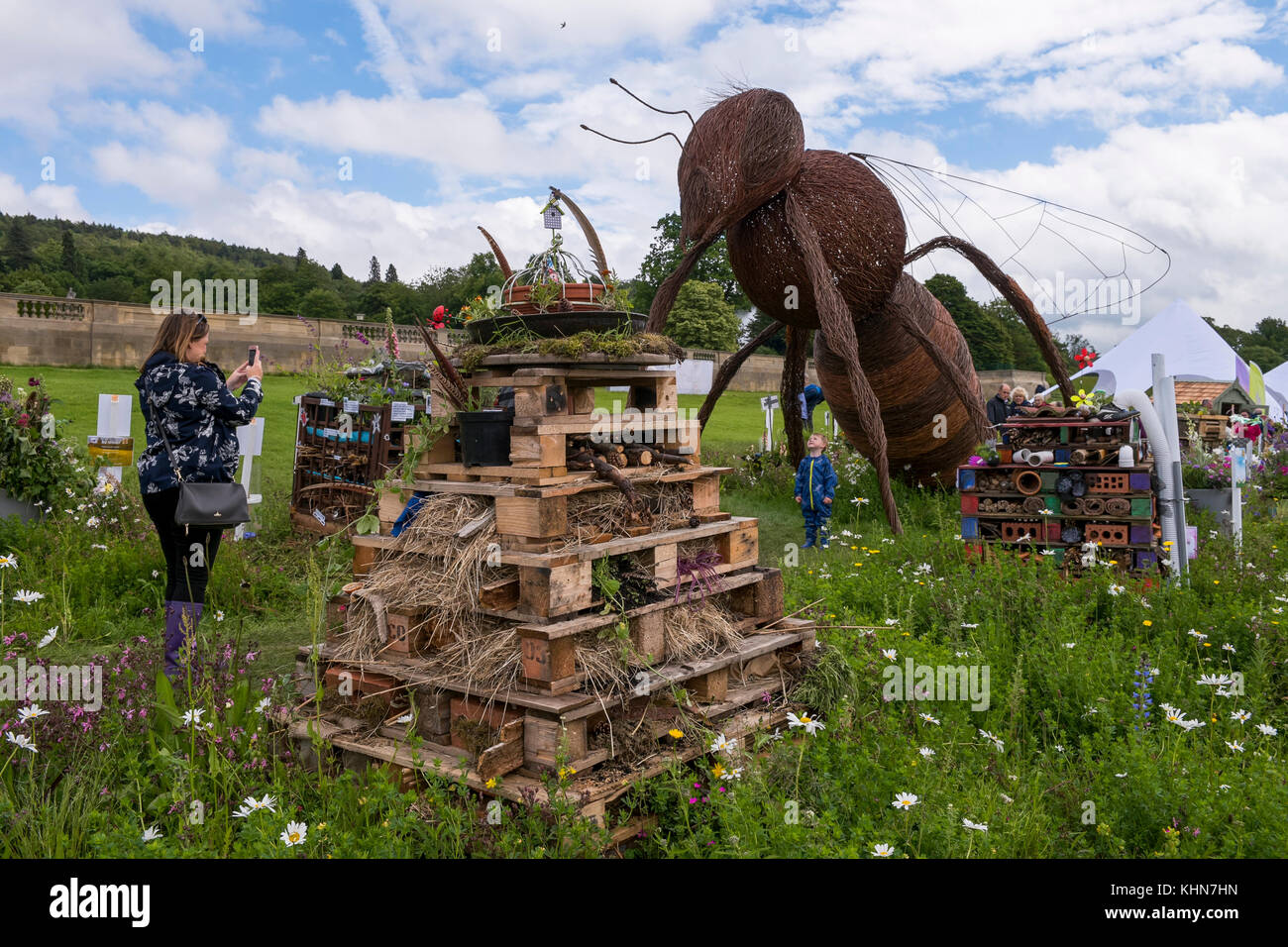 Mum photographs child by eco-friendly Bug Hotel competition entries & huge bee sculpture - RHS Chatsworth House, - Stock Image