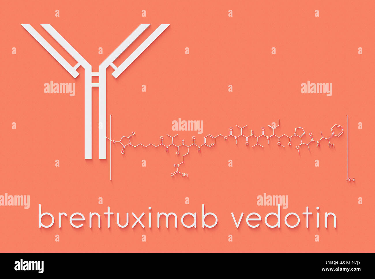 Brentuximab vedotin antibody-drug conjugate molecule. Consists of monoclonal antibody conjugated to 3-5 molecules - Stock Image