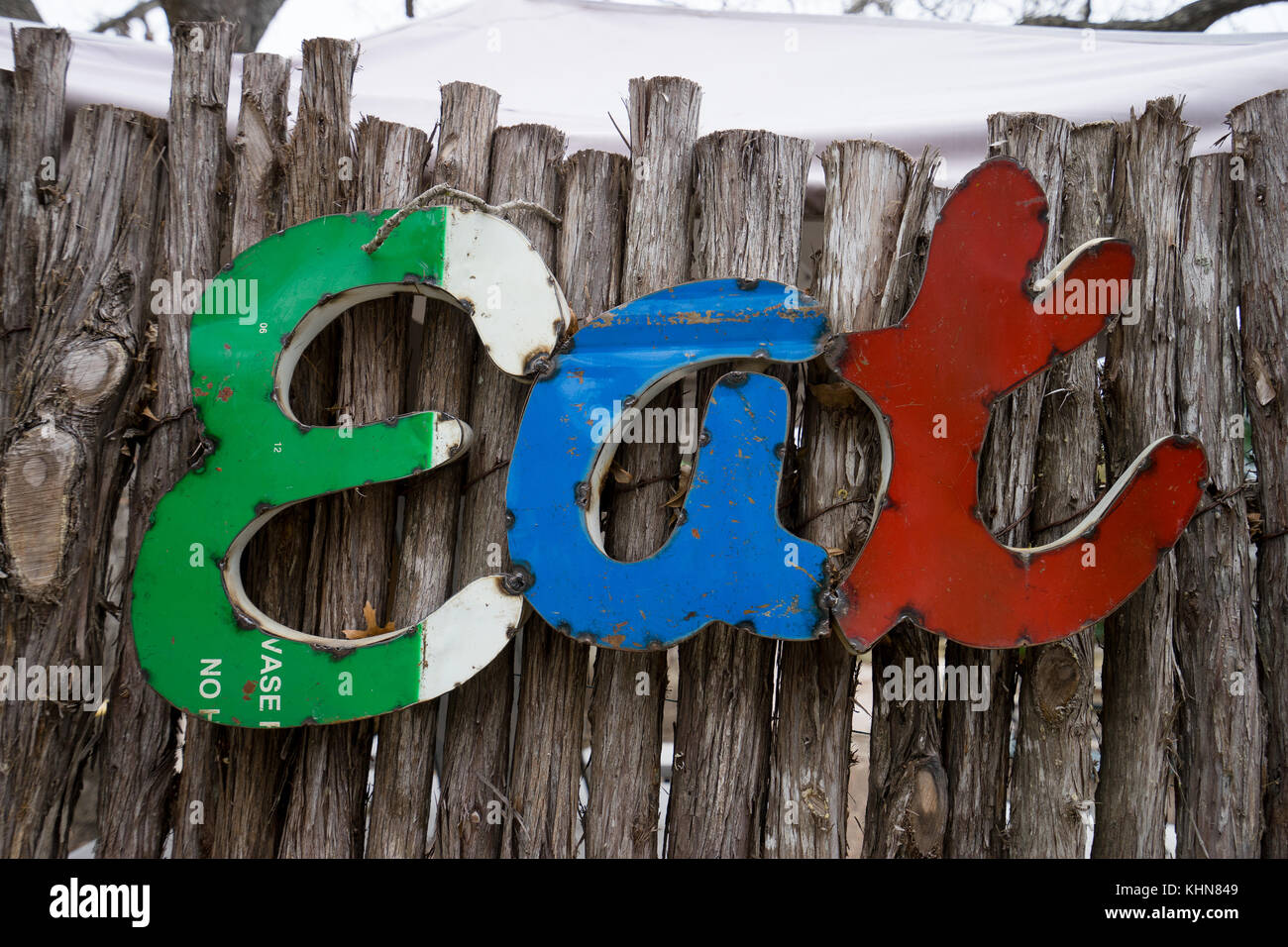 the word eat in metal letters - Stock Image