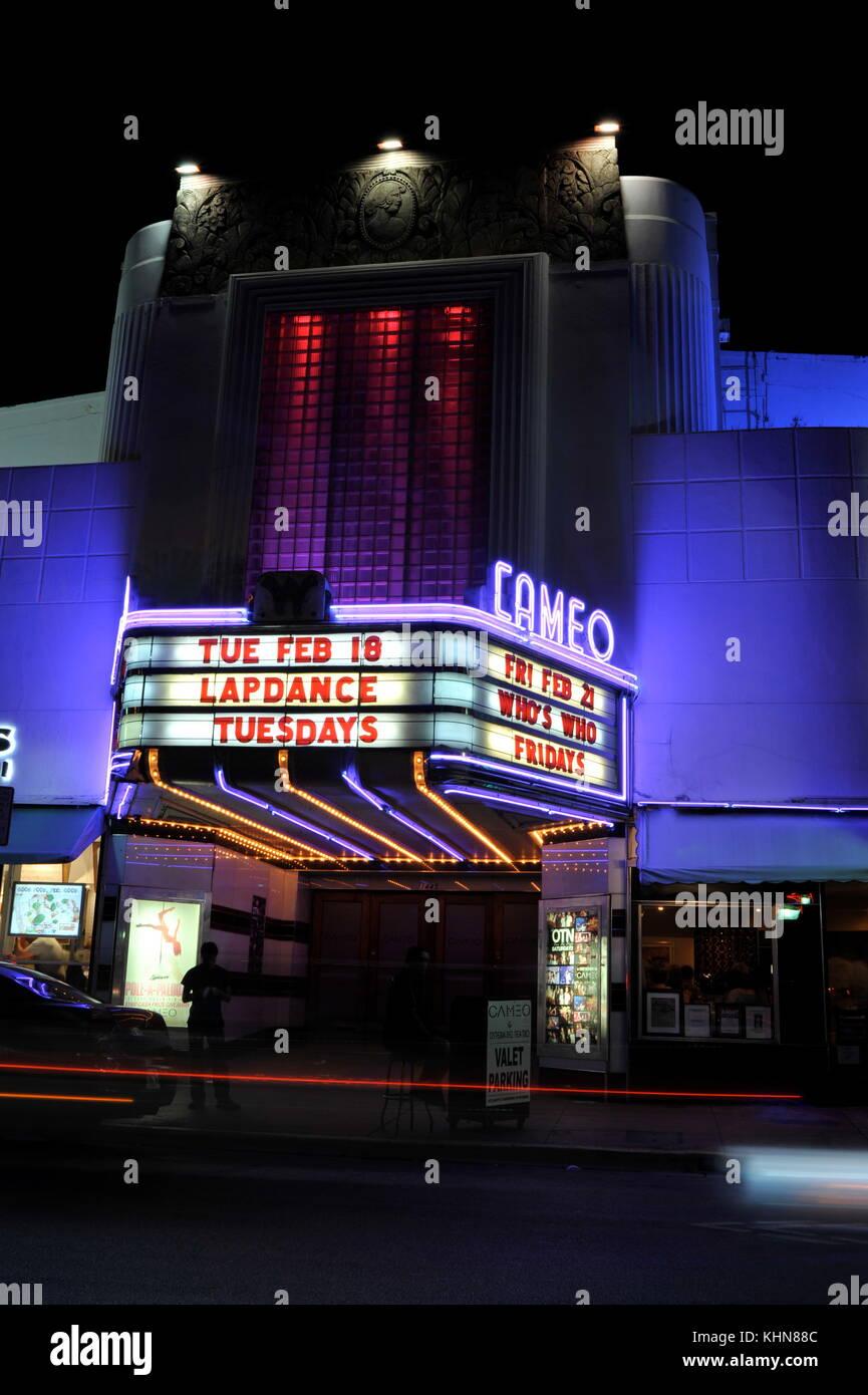 Art Deco design of Cameo Theatre in South Beach, Miami, Florida, USA. - Stock Image