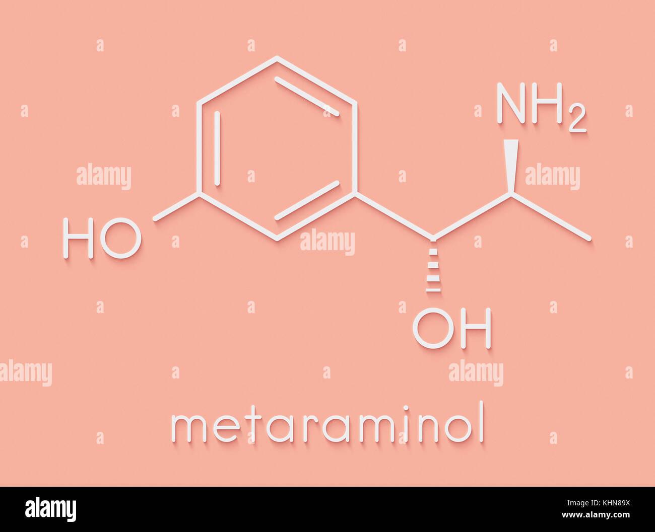 Metaraminol (metaradrine) hypotension drug molecule. Used in treatment of low blood pressure, e.g. due to anesthesia. - Stock Image