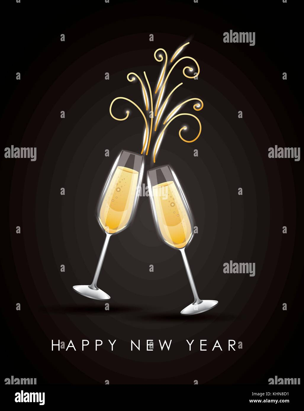 happy new year pair of champagne glass cheers drink celebration - Stock Vector